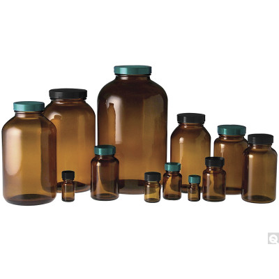 17oz (500mL) Amber Wide Mouth Packer, 53-400 Green Thermoset F217 & PTFE Lined Caps, case/60