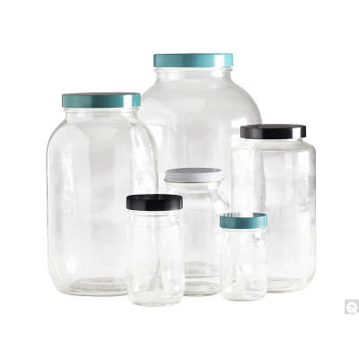 4L Clear Wide Mouth Bottles, 89-400 Green Thermoset F217 PTFE Lined Caps, case/4