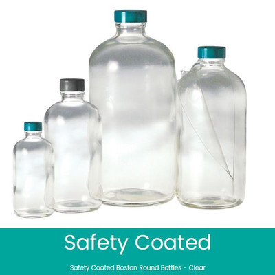 8 oz Safety Coated Clear Boston Round Bottles, 24-400 Phenolic Pulp/Vinyl Lined Caps, case/24