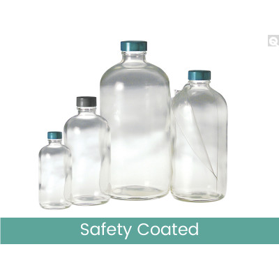 32oz Safety Coated Clear Boston Round, 33-400 Phenolic Rubber Lined Caps, case/12