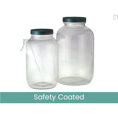 64oz (1920mL) Safety Coated Clear Wide Mouth Bottles, 83-400 Phenolic Pulp/Vinyl Lined Caps, case/6