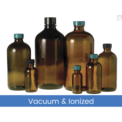 33oz (1000mL) Amber Glass Boston Round, 33-430 Phenolic F217 & PTFE Lined Caps Vacuum & Ionized, case/12