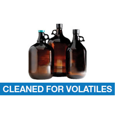 4L Amber Glass Jug, 38-439 PP Cap & PTFE Disc Cleaned for Volatiles, case/6