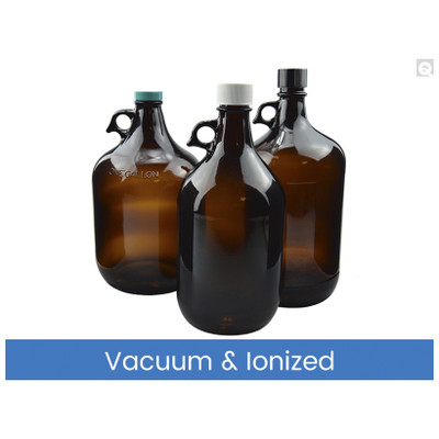 4L Amber Glass Jug, 38-400 Green Thermoset F217 & PTFE Lined Caps, Vacuum & Ionized, case/6