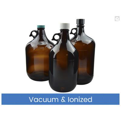 4L Amber Glass Jug, 38-430 Phenolic Cap F217 & PTFE Lined Caps Vacuum & Ionized, case/6