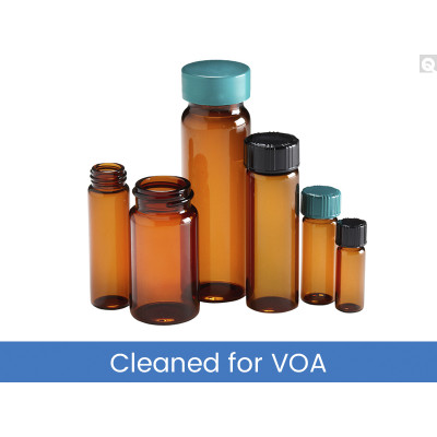 27.75 x 57mm 5 dram (20mL) Amber Vial, 24-400 Green Thermoset F217 & PTFE Lined Caps, Cleaned for Volatiles, case/144