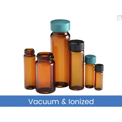 27.75 x 57mm 5 dram (20mL) Amber Vial, 24-400 Green Thermoset F217 & PTFE Lined Caps, Vacuum & Ionized, case/144