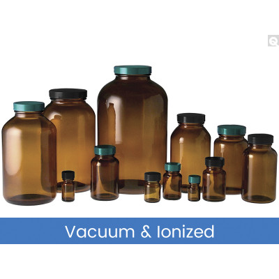 2oz (60mL) Amber Wide Mouth Packer, 33-400 Phenolic Polyseal Cone Lined Caps, Vacuum & Ionized, case/24