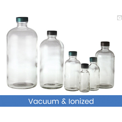 4oz (120mL) Glass Boston Round, 22-400 Green Thermoset F217 & PTFE Lined Caps, Vacuum & Ionized, case/160