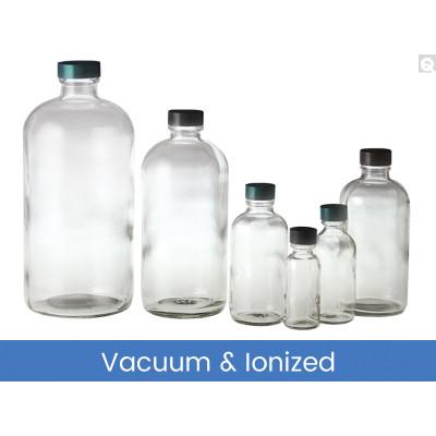 16oz (480mL) Glass Boston Round, 28-400 Green Thermoset F217 & PTFE Lined Caps, Vacuum & Ionized, case/60