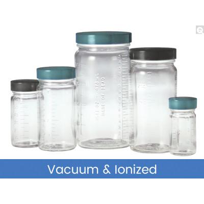 2oz (60mL) Clear Graduated Medium Round, 38-400 Phenolic Solid PE Lined Caps, Vacuum & Ionized, case/288