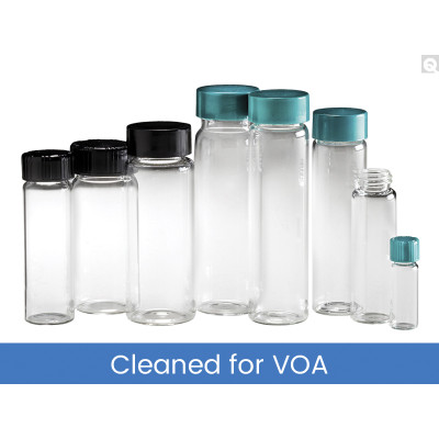 27.75 x 95mm 10 dram (40mL) Clear Vial, 24-400 Green PP Hole Cap & PTFE/Silicone Septa, Cleaned & Certified for Volatiles, case/144