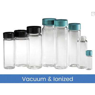 19 x 65mm 3 dram (11mL) Clear Vial, 15-425 Green Thermoset F217 & PTFE Lined Caps, Vacuum & Ionized, case/144