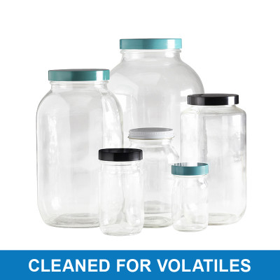 4L Clear Wide Mouth Bottles, 89-400 Green Thermoset F217 PTFE Lined Cap, Cleaned for Volatiles, case/4