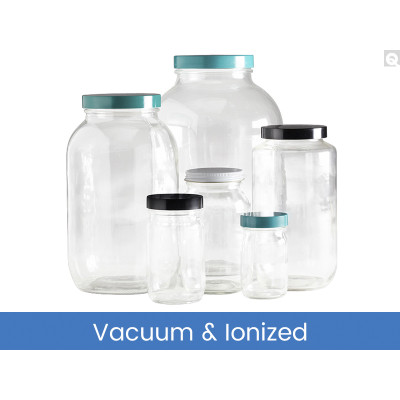 8oz (240mL) Clear Wide Mouth Bottles, 58-400 Green Thermoset F217 & PTFE Lined Caps, Vacuum & Ionized, case/24