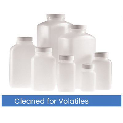 1000mL HDPE Wide Mouth Oblong, 53-400 PP SturdeeSeal PE Foam Lined Cap, Cleaned for Volatiles, case/12