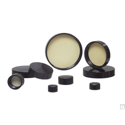 58-400 Black Phenolic Cap with Rubber Liner, Each