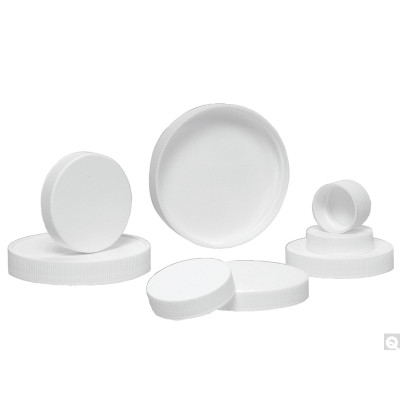 24-400 White Ribbed Polypropylene Cap with SturdeeSeal PE Foam Liner, Each