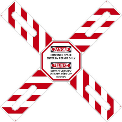 """Bilingual CONFINED SPACE / PERMIT ONLY Cross-Buck Kit Sign, Adjustable 22""""-38"""""""