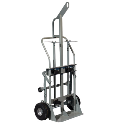"""Double Cylinder Hand Truck with Hoist Ring, 10.5"""" Pneumatic Wheels, Rear Casters"""