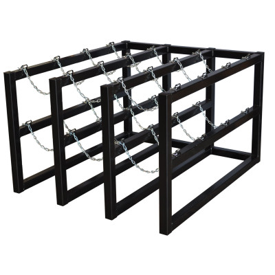 Gas Cylinder Barricade Rack, 12 Cylinder Capacity, 3 Wide / 4 Deep