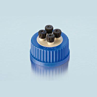 DURAN® 4-Port HPLC Caps, GL45, PP, pack/2