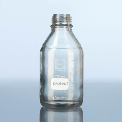 DURAN® Safety Coated PRESSURE PLUS Bottle Only, Clear, 250mL, GL45, case/10