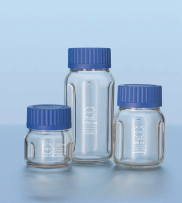 DURAN® Baffle Bottle for Mixing, 250mL, GLS-80 PP Cap and Pouring Ring