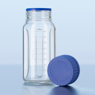 DURAN® Baffle Bottle for Mixing, 1000mL, GLS-80 PP Cap and Pouring Ring