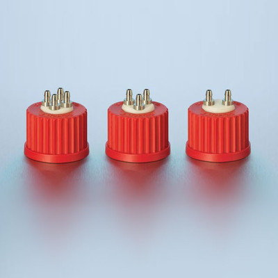 DURAN® 4-Port Cap, GL25 Red PBT Screw Cap, PTFE Insert, Stainless Steel Ports, Sterile