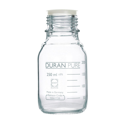 DURAN® PURE Bottle Only, Clear Borosilicate Glass, GL45, 250mL, case/10