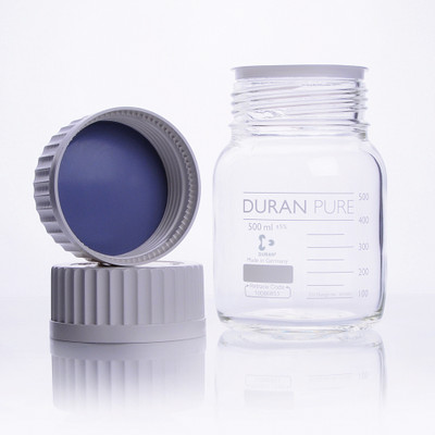 DURAN® PURE Bottle Only, Clear Borosilicate Glass, GL45, 500mL, case/10