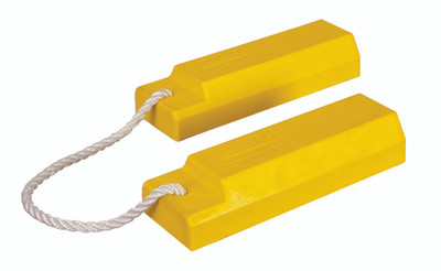 "Aviation Wheel Chocks, 12"" Yellow with 24"" Nylon Rope, Rubber Pad, Pair"