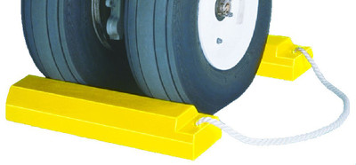 "Aviation Wheel Chocks, 18"" Yellow with 24"" Nylon Rope, Rubber Pad, Pair"