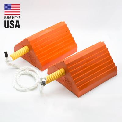 "Pickup Truck Wheel Chocks, 4.5 lb Urethane, 10"" x 8.5"" x 5"" Orange with Eye Bolt & Handle, Pair"