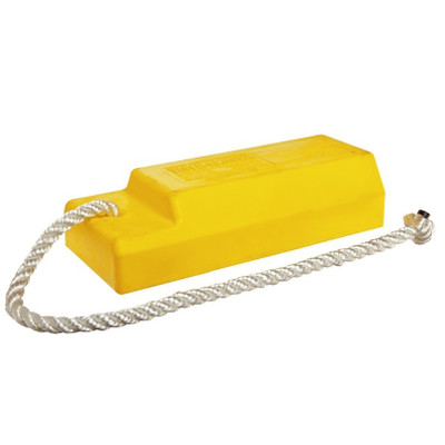 "Aviation Wheel Chock, 18"" Yellow with 24"" Nylon Rope, Rubber Pad, Single Unit"