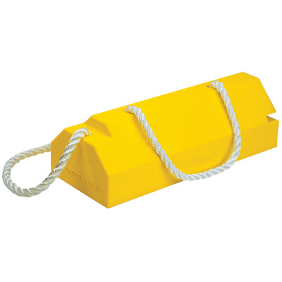 """Aviation Wheel Chock, 20"""" Yellow with 36"""" Nylon 5/8"""" Rope and Handle, Single Unit"""