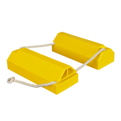 "Aviation Wheel Chock, 20"" Yellow, 36"" x 5/8"" Nylon Locking Rope, Rubber Pad, Single Unit"