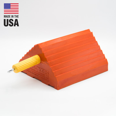 "Pickup Truck Wheel Chock, 4.5 Lb Urethane, 10"" x 8.5"" x 5"" Orange with Handle, Single Unit"