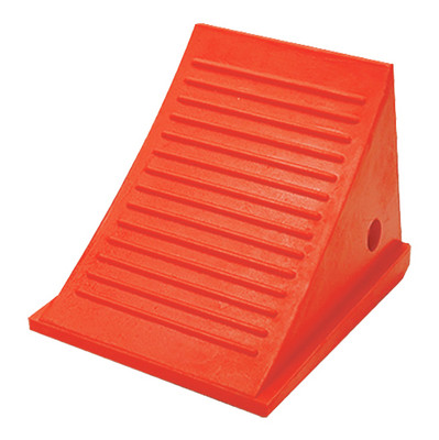 "Pickup Truck Wheel Chock, 4.5 Lb Urethane, 11"" x 7.75"" x 8"" Orange, Single Unit"