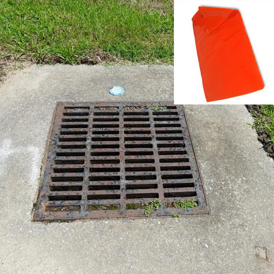 "Drain Seal, Water-Tight Flexible Cover, 48"" x 48"", 2-Hour Rated, Orange"