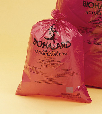 "Biohazard Disposal Bags with Sterilization Indicator, 14x19"", case/200"