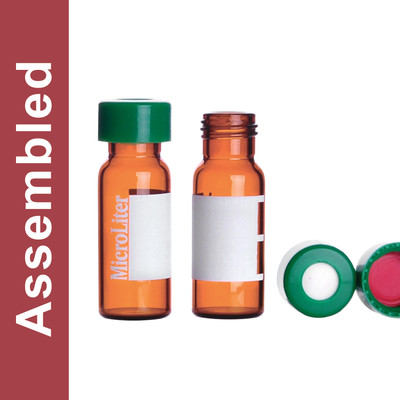 WHEATON® MicroLiter Amber Screw Thread Vial Kit, Marking Patch, Green 9mm Cap, PTFE/Silicone/PTFE Septa, pack/100