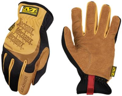 FastFit® Leather Gloves, Full Finger with Elastic Cuff, case/10