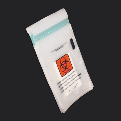 "Biohazard Specimen Transport Bags, 2 mil, 8"" x 10"", Zip-Close with Document Pouch, Tearzone, case/1000"