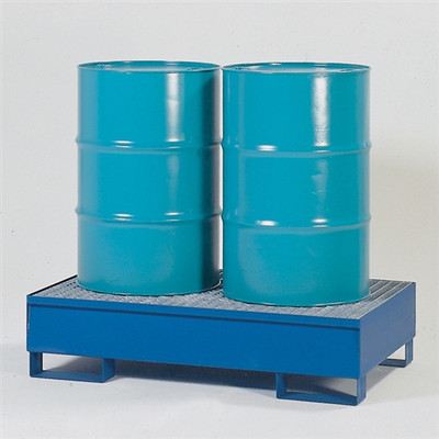 2-Drum Containment Spill Pallet, Painted Steel with Grating