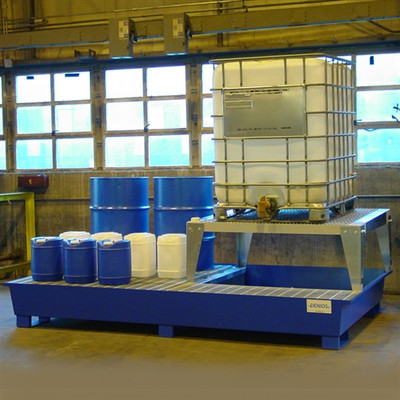 2-Tote IBC Containment Platform, Single Dispensing Stand, Painted Steel