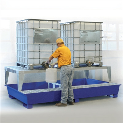 2-Tote IBC Containment Platform, 2 Dispensing Stands, Painted Steel