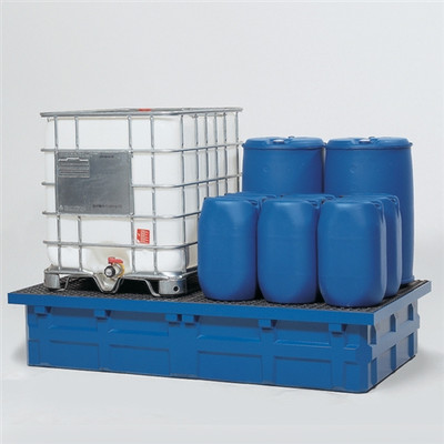 2-Tote IBC Containment Poly Pallet with Fiberglass Grating