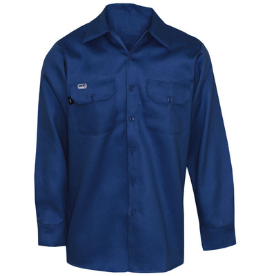 Flame Resistant FR Clothing, Indura® Button Work Shirt, UL Certified, Blue